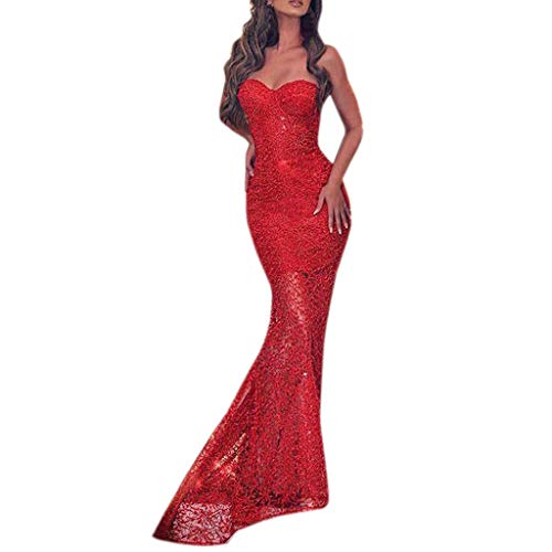 Kulywon Sexy Womens Sleeveless Off Shoulder Mermaid Bodycon Cocktail Prom Gown Dress Red