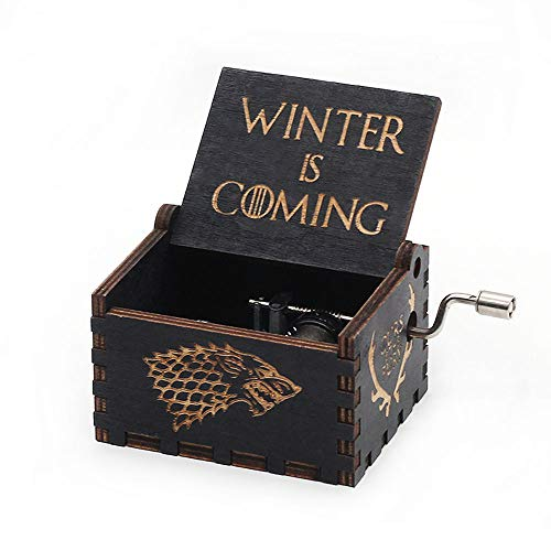 (Game of Thrones Music Box Hand Crank Musical Box Carved Wooden,Play The Theme Song of Game of Thrones,Black)