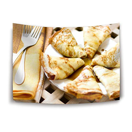 VEZEFOR Tapestry Wall Hanging Carnival Food Pancakes Crepes Fork with Art Nature Home Decorations for Living Room Bedroom Dorm Decor in 60 x 51 in ()