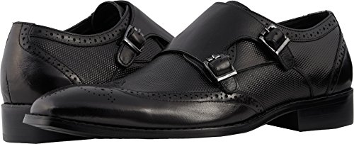 Stacy Adams Men's LaVine Wingtip Double Monk-Strap Loafer, Black, 10.5 M - Double Wingtip