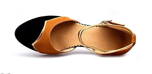 Scarpe Da Ballo Tango Latino Velluto Da Donna Tacchi Da Ballo Bicolore Arancione / Gomma