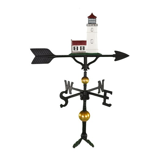 Montague Metal Products 32-Inch Deluxe Weathervane with Color Cottage Lighthouse Ornament by Montague Metal Products