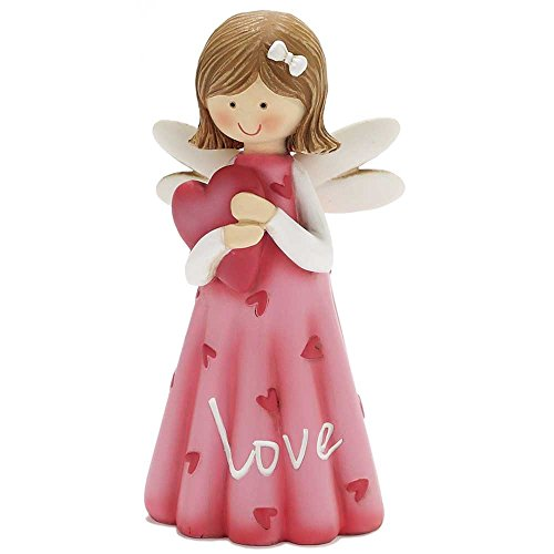 Figurine Heart (Love Sweet Angel Holding Heart 5 Inch Resin Decorative Tabletop Angel Figurine)
