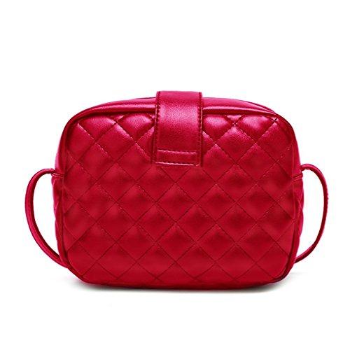 solido Rosso spalla Borse della Zipper Borse Rhombus Crossbody ragazza Messenger Single Borse donne colore PU republe delle wEacqFBB