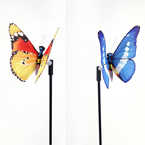 Prettiest Butterfly Ever (Solar Powered Butterfly LED Decorative Light Lamp for Outdoor Garden Fence Pathway Stairs Light Lamp Step Light - Light stick style (2 in 1 pack - Random Colors) (Non-LED)