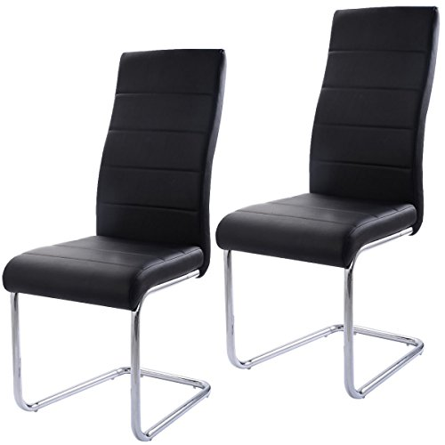 Tamsun Set of 2 PU Leather Dining Chairs Elegant Design High Back