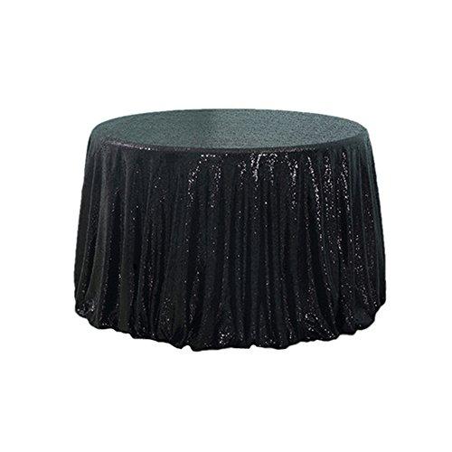 "TRLYC Diameter 48"" Black Seamless Sequin Tablecloth Wedding"