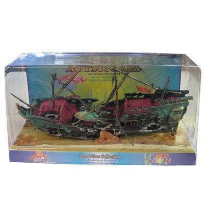 Penn Plax Shipwreck Aquarium Decoration Ornament with Moving Masts, Lifeboat, and Bubble -
