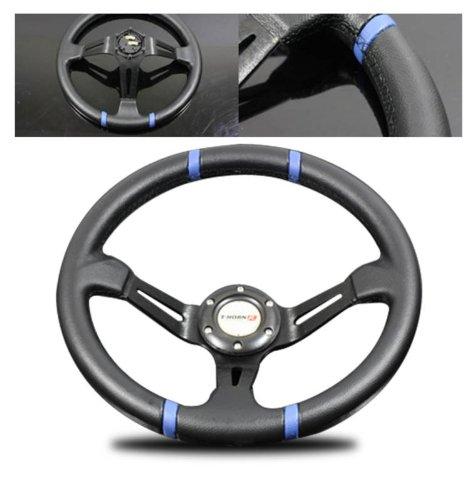 Wheel Drift (SPPC Universal Deep Dish Drift Racing Steering Wheels (Black PVC & Spoke,Blue Mark & Stich) Popular 350MM)