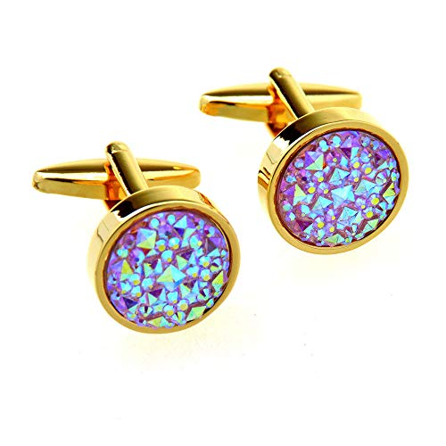 Round Pink Crystal Cufflinks 2PC Gold French Shirt Men's Cufflinks Diamond Metal Cufflinks