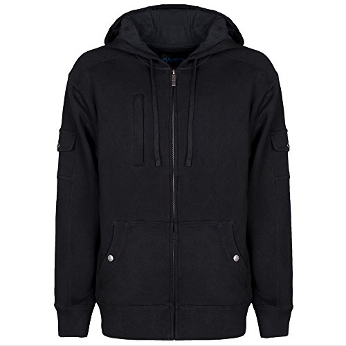 AyeGear H13 Hoodie with 13 Pockets, iPad or Tablet Pocket, Fleece, Black XXL