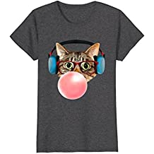 Cat shirt with Smart Glasses Headphones Pink Bubble Gum