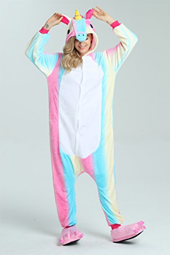 Taiyi Homewear Childrens Unicorn Plush One Piece Onesie Cosplay Animal Costume (12Yrs(height 59''-63''/150cm-160cm), Rainbow Flying Horse) by Taiyi (Image #6)