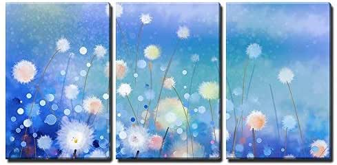 """wall26 - 3 Piece Canvas Wall Art - Abstract Oil Painting White Flowers Field in Soft Color - Modern Home Art Stretched and Framed Ready to Hang - 16""""x24""""x3 Panels"""