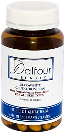 Dalfour Beauty Ultrawhite Glutathione Whitening Capsules w/Collagen & Vitamin C - 2400mg/serving with 1600mg Glutathione