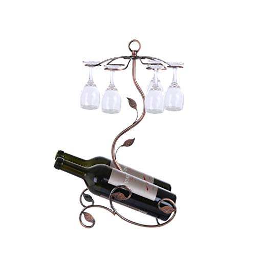 Purpleflower Wine Bottle Stemware Glass Rack Standing - European Style - 2 Bottle Holder and 6 Wine Glass Holder/Dryer - Elegant Storage for Kitchen, Dining Room, Bar(Bronze,2PC)[3-5 Days Delivery]