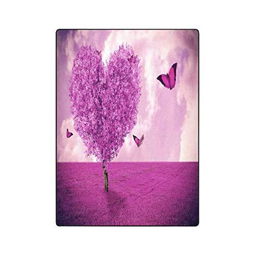 - InterestPrint Beautiful Field with Heart Shape Tree and Butterfly Super Soft Fleece Blanket 58