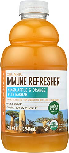 Whole Foods Market, Organic Immune Refresher, Flavored Juice Blend from Concentrate, Mango, Apple & Orange with Baobab, 32 fl oz