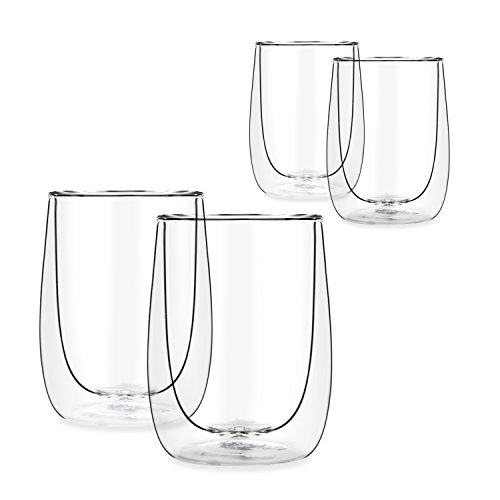 Aura Double Walled Glass Tea & Coffee Espresso Glasses Cups - 230ml / 8.0 fl. oz (4)