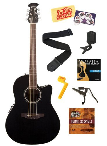 Celebrity Standard Mid-Depth Cutaway Acoustic-Electric Guitar Bundle with Strings, Strap, Tuner, Capo, String Winder, Picks, Instructional DVD, and Polishing Cloth - Black - Ovation CS24-5