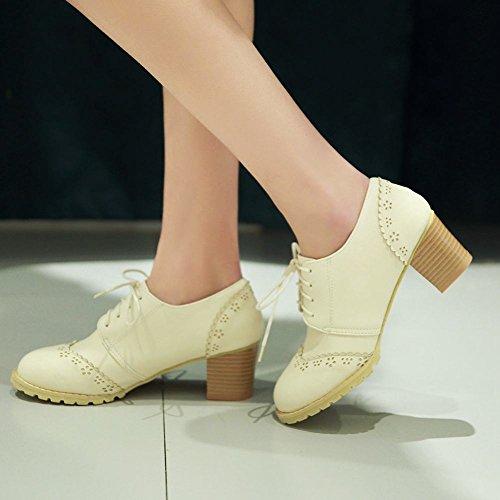 Tacchi Alti Adorabili Delle Donne Di Latasa Allacciate Le Scarpe Di Oxford Beige