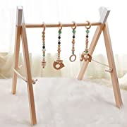 Baby Wood Gym with 4 Wooden Gym Toys Baby Teethers,Stable and Foldable Gym Frame Wood Activity Gym Hanging Bar Gift for Newborn Baby