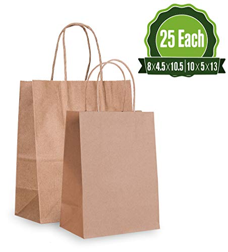 Brown Kraft Paper Gift Bags Bulk with Handles 8 X4.5X10.5 & 8X4.5X10 [25 Each]. Ideal for Shopping, Packaging, Retail, Party, Craft, Gifts, Wedding, Recycled, Business, Goody and Merchandise Bag