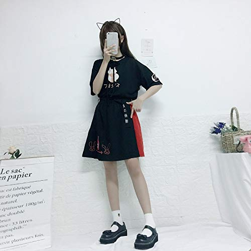 Summer New Cat Print Bow Short T-Shirt + Skirt 2 Piece Sets Clothing by MV (Image #2)