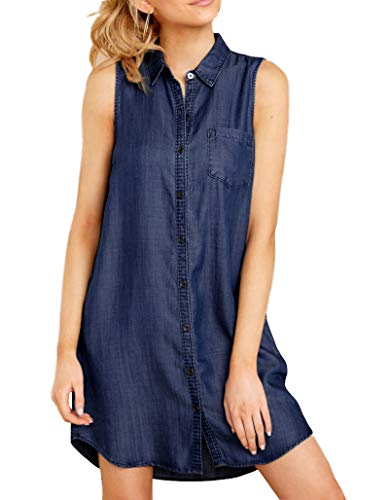 Daomumen Womens Sleeveless Jean Dress Button Down Collar Blue Denim Boyfriend Shirts Dresses with ()