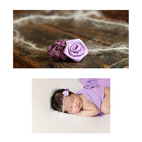 - Flower Duo Mohair Tieback Headband, Photography Prop, Newborn, Toddler, Child, Adult (Purple)