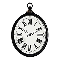 HAGz Oval Retro Wall Clock Mute Silent Clocks and Watches Rome Digital Quartz Sweep Seconds Be Old Rings Large White Plastic Suitable for Bedroom & Living Room Size 32cm (12.6inch)
