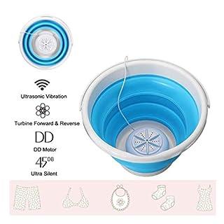 Portable Mini Washing Machine, Foldable Ultrasonic Turbines Rotating Washer Travel USB Cable, Convenient Laundry (Blue (Upgrade))