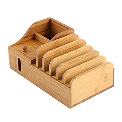 Lottogo Bamboo USB Charging Station Dock Organizer Stand with 30W Multi-Port Desktop USB Smart Charger for iPhone 7 6S 5S iPad Samsung Nexus Smartphone and Other USB Devices by Lottogo