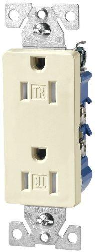 Cooper Decorator Duplex Receptacle - Eaton TR1107LA Tamper Resistant Decorator Duplex Receptacle, Light Almond 10-pack