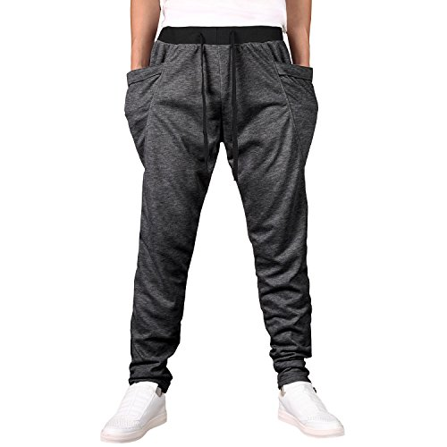 GeckoRoam Mens Joggers Pants Sweat Pants Grey Large Casual Running Sweatpants Big and Tall Harem Trousers With Pockets -GD079DG-L