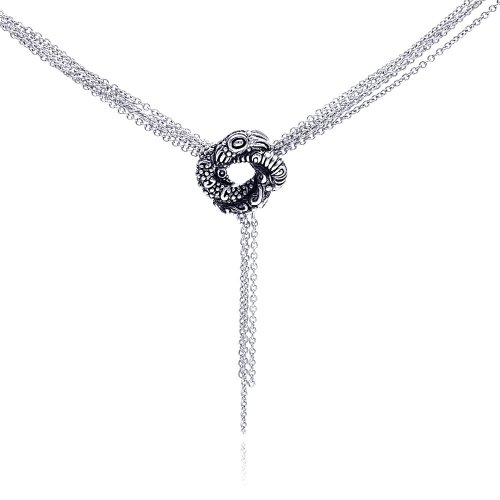 Luxurious 925 Sterling Silver Rhodium Plated Multiple Chain Oxidized Coiled Up Snake Necklace - ()
