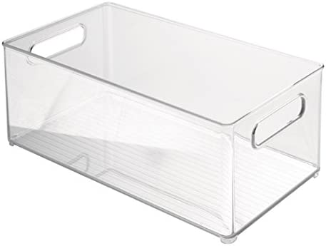 'InterDesign Refrigerator or Freezer Storage Bin – Food Organizer Container for Kitchen - Deep Drawer, Clear' from the web at 'https://images-na.ssl-images-amazon.com/images/I/416QzEtxRoL._AC_SY375_.jpg'