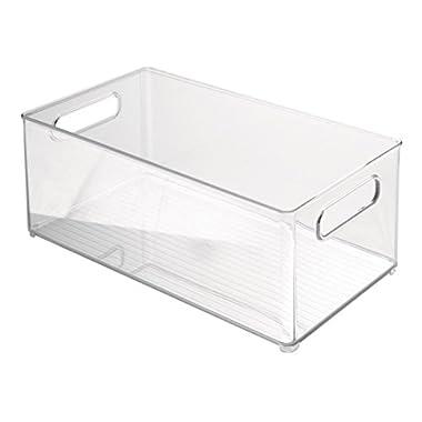 InterDesign Refrigerator and Freezer Storage Organizer Bin for Kitchen, 8-Inch by 6 by 14.5-Inch, Clear