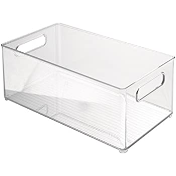 InterDesign Refrigerator and Freezer Storage Organizer Bin for Kitchen, 8-Inch by 6 by 14.5-Inch, Clear