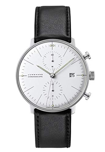 Junghans Max Bill Chronoscope Mens Automatic Chronograph Watch - 40mm Analog Silver Face with Luminous Hands and Date - Stainless Steel Black Leather Band Luxury Watch Made in Germany 027/4600.00
