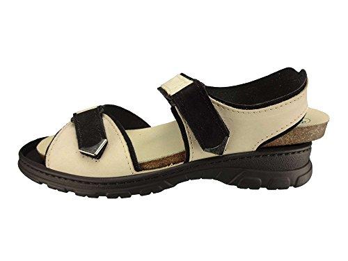 Algemare Damen Trekking Sandale Nubuk Leder waschbares Algen-Kork Fußbett 6478_0824 Sandalette Pantolette mit Wechselfußbett, Größe:43