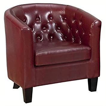 Super Bowery Hill Tufted Club Barrel Chair In Red Unemploymentrelief Wooden Chair Designs For Living Room Unemploymentrelieforg