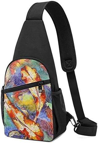 ボディ肩掛け 斜め掛け 鯉 絵画 ショルダーバッグ ワンショルダーバッグ メンズ 軽量 大容量 多機能レジャーバックパック