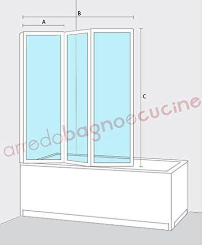 Misure Depliant 3 Ante.Box Parete Vasca Doccia Sopravasca Cm 133 134 Pannello Pieghevole