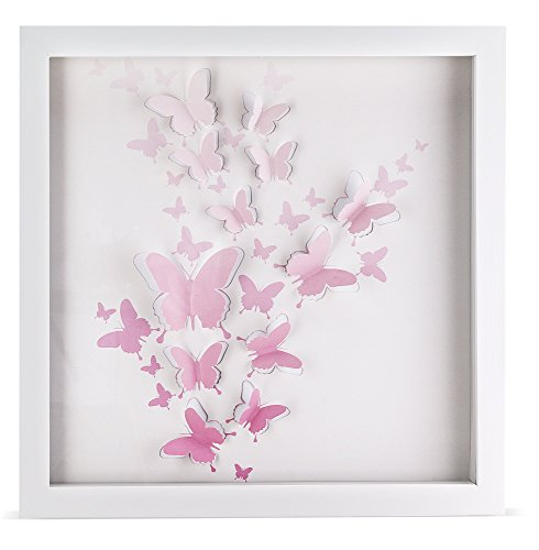 Pink Butterfly Artwork | Girls Room Décor | Bathroom & Home Décor | Wall Art | Hand Cut Butterflies in Plexi Glass Encased Shadow Box | Great Gift | Large Size 16
