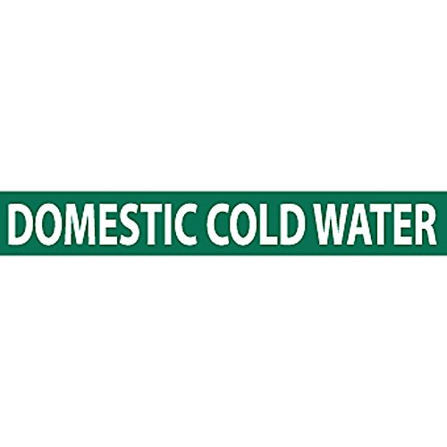 Nmc Vinyl Pipe Markers - Domestic Cold Water - Green With 1-1/4'' Lettering - Green by C&H