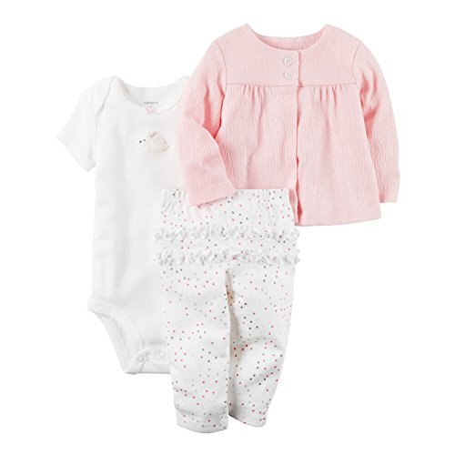 Girls Newborn Bunny Carters (Carter's Baby Girls' 3 Piece Textured Cardigan Set Newborn)
