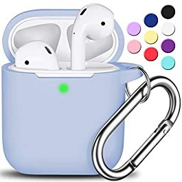 AirPods Case Cover with Keychain, R-fun Full Protective Silicone AirPods Accessories Skin Cover for Women Girl with…