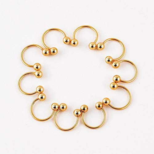 Wausa 10 Pcs Stainless Steel Nose Ring Horseshoe Bar Lip Septum Ear Ring Stud Piercing   Model RNG - 23044   6mm