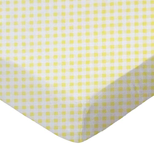 SheetWorld Fitted Sheet (Fits BabyBjorn Travel Crib Light) - Yellow Gingham Jersey - Made In USA, 24 x 42